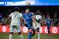 SAN JOSE, CA - SEPTEMBER 4: Andres Rios #25 of the San Jose Earthquakes heads the ball during a game between Colorado Rapids and San Jose Earthquakes at PayPal Park on September 4, 2021 in San Jose, California.