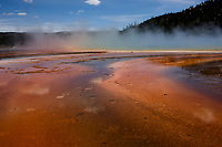 Steam rises from the Grand Prismatic Spring in Yellowstone National Park, Wyoming on Tuesday, May 23, 2017. (Photo by James Brosher)