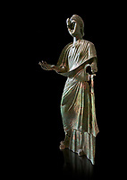 Bronze statue of Roman empress Julia Aquilia Severa found at Sparta. circa 221-222 AD.  Athens National Archaeological Museum, Cat No X23321. Against black<br /> <br /> The women in the Bronze statue wears a Chiton and himation and would have had a crwon on her head. The hair style is typical of the Severan dynisty. Julia Aquilia was the last wife of emperor Elagobalus (218-222 AD) and the damage to the statue is due to a building collapsing on it after a fire circa 221-222 AD