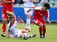 Korea DPR's KIM Un Yu beats USA's Kristie Mewis. USA v Korea Republic. FIFA U-17 Women's World Cup Final. North Harbour Stadium, Auckland, Sunday 16 October 2008. Photo: Simon Watts/PHOTOSPORT