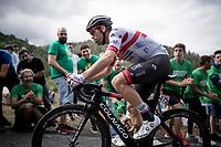 Marco Marcato (ITA/UAE-Emirates) up the brutal (last climb) Alto de Arraiz (up to 25% gradients!), 7km from the finish <br /> <br /> Stage 12: Circuito de Navarra to Bilbao (171km)<br /> La Vuelta 2019<br /> <br /> ©kramon