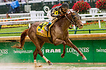 LOUISVILLE, KENTUCKY, MAY 05: Funny Duck, #4, ridden by Brian Hernandez, Jr., wins the Pat Day Mile on Kentucky Derby Day at Churchill Downs on May 5, 2018 in Louisville, Kentucky. ( Photo by Sue Kawczynski/Eclipse Sportswire/Getty Images)