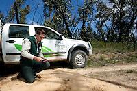 Mike Stevens checks a Fox Pad in the Grampians, Victoria