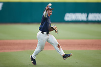 Wingate Bulldogs third baseman Michael Dansky (2) makes a throw to first base against the Central Missouri Mules during the 2021 DII Baseball National Championship at Coleman Field at the USA Baseball National Training Complex on June 12, 2021 in Cary, North Carolina. The Bulldogs defeated the Mules 5-3. (Brian Westerholt/Four Seam Images)