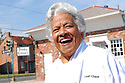 Chef Leah Chase stands outside of her famous restaurant, Dooky Chase's, which was flooded out during Hurricane Katrina, New Orleans, Friday, March 9, 2007..(AP Photo/Cheryl Gerber).