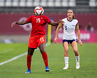 KASHIMA, JAPAN - AUGUST 2: Nichelle Prince #15 of Canada controls the ball during a game between Canada and USWNT at Kashima Soccer Stadium on August 2, 2021 in Kashima, Japan.