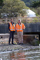 CentrePort chief executive Derek Nind and Zealand chief executive Paul Atkins discuss the Sanctuary to Sea Project memorandum of understanding at the mouth of the Kaiwharawhara Stream at CentrePort in Wellington, New Zealand on Tuesday, 23 March 2021. Photo: Dave Lintott / lintottphoto.co.nz