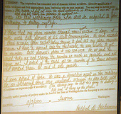 A police domestic violence report and request for a restraining order filed by Mildred Muhammad on March 3, 2000 is displayed on a screen in the trial of sniper suspect John Allen Muhammad in Virginia Beach Circuit Court in Virginia Beach, Virginia on November 19, 2003. Now in the punishment phase of the trial, the jury can only choose execution or life in prison without parole for Muhammad, who was found guilty Monday, November 17, 2003 of all charges, including two capital murder counts, in one of 10 fatal shootings that terrorized the Washington, D.C., area in 2002. <br /> Credit: Tracy Woodward - Pool via CNP
