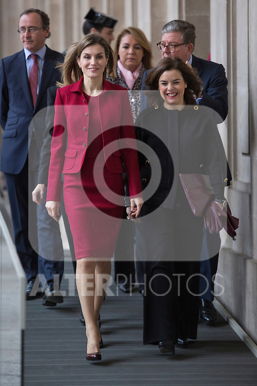 Queen Letizia of Spain visits the Royal Palace after remodeling works in Madrid, Spain. February 10, 2016. (ALTERPHOTOS/Victor Blanco)