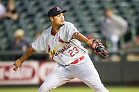 Memphis Redbirds pitcher Sam Tuivailala (23) delivers a pitch to the plate during Pacific Coast League game against the Round Rock Express on April 21, 2015 at the Dell Diamond in Round Rock, Texas. Round Rock defeated Memphis 2-1. (Andrew Woolley/Four Seam Images)