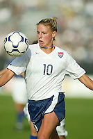 Aly Wagner dribbles the ball during a 0-0 tie with Japan in San Diego, Calif.,  January 12, 2003.