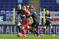 Magali Dinon (6) of Woluwe with Tine De Caigny (6) of Anderlecht and Amber Maximus (9) of Anderlecht pictured during a female soccer game between RSC Anderlecht Dames and White Star Woluwe on the 18 th and last matchday before the play offs of the 2020 - 2021 season of Belgian Womens Super League , saturday 27 th of March 2021  in Brussels , Belgium . PHOTO SPORTPIX.BE | SPP | DIRK VUYLSTEKE