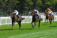 Winner of The AJN Steelstock Henstridge Apprentice Handicap Juanito Chico middle ridden by Rhys Clutterbuck and trained by Michael Attwater during Horse Racing at Salisbury Racecourse on 9th August 2020