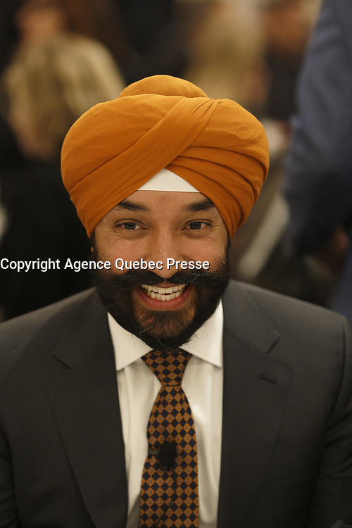 Conference de l'honorable Navdeep Singh Bains devant la Chambre de Commerce du Montreal Metropilitain , Jeudi 18 janvier 2018 midi<br /> <br /> PHOTO :  Agence Quebec Presse