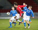 St Johnstone Academy v Manchester United Academy....17.04.15   <br /> Callum Whelan gets between Marc Gow and Morgan Miller<br /> Picture by Graeme Hart.<br /> Copyright Perthshire Picture Agency<br /> Tel: 01738 623350  Mobile: 07990 594431