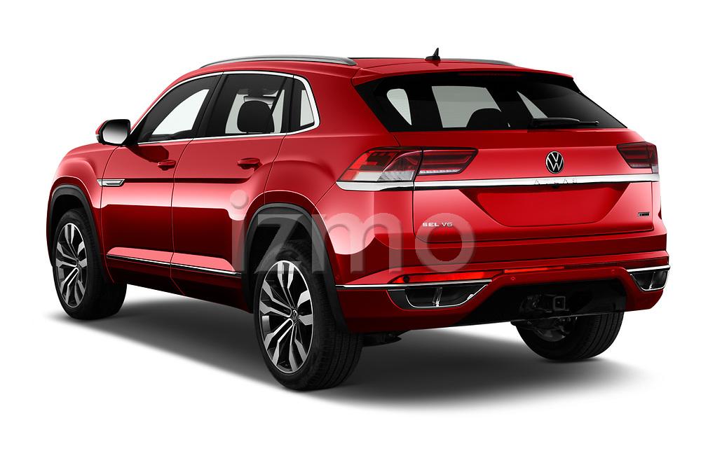 Car pictures of rear three quarter view of 2021 Volkswagen Atlas-Cross-Sport SEL-R-Line 5 Door SUV Angular Rear