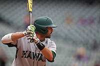 Hawaii Rainbow Warriors third baseman Alex Sawelson (15) at bat during the NCAA baseball game against the Nebraska Cornhuskers on March 7, 2015 at the Houston College Classic held at Minute Maid Park in Houston, Texas. Nebraska defeated Hawaii 4-3. (Andrew Woolley/Four Seam Images)