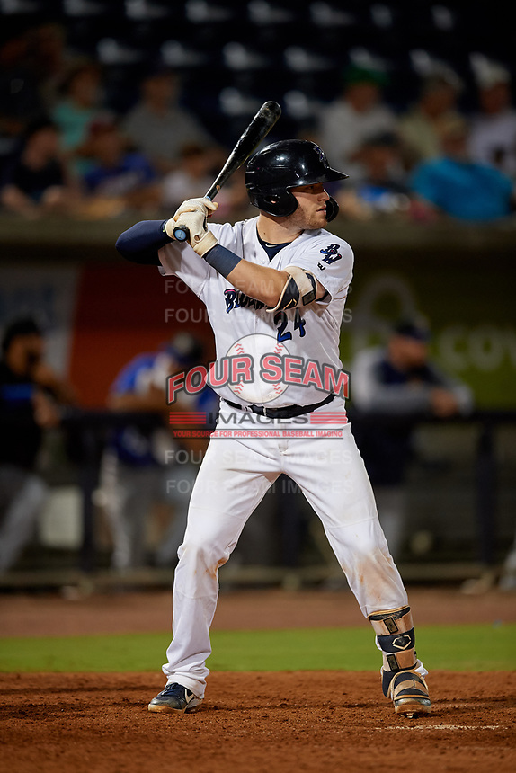 Pensacola Blue Wahoos Caleb Hamilton (24) at bat during a Southern League game against the Biloxi Shuckers on May 3, 2019 at Admiral Fetterman Field in Pensacola, Florida.  Pensacola defeated Biloxi 10-8.  (Mike Janes/Four Seam Images)