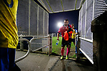 Players head back to the dressing rooms at full time. Stocksbridge Park Steels v Pickering Town, Evo-Stik East Division, 17th November 2018. Stocksbridge Park Steels were born from the works team of the local British Steel plant that dominates the town north of Sheffield.<br /> Having missed out on promotion via the play offs in the previous season, Stocksbridge were hovering above the relegation zone in Northern Premier League Division One East, as they lost 0-2 to Pickering Town. Stocksbridge finished the season in 13th place.