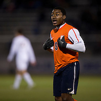 Darius Madison (9) of Virginia yells to a referee during the ACC tournament semifinals at the Maryland SoccerPlex in Boyds, MD.  Virginia advanced to the finals after tying Notre Dame, 3-3, in overtime and then defeating them on penalty kicks.