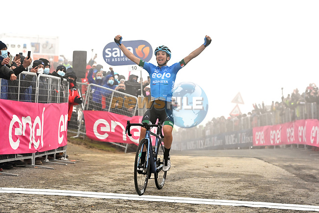 Lorenzo Fortunato (ITA) Eolo-Kometa Cycling Team from the breakaway wins solo Stage 14, his first ever professional victory, of the 2021 Giro d'Italia, running 205km from Cittadella to Monte Zoncolan, Italy. 22nd May 2021.  <br /> Picture: LaPresse/Massimo Paolone   Cyclefile<br /> <br /> All photos usage must carry mandatory copyright credit (© Cyclefile   LaPresse/Massimo Paolone)