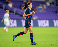 ORLANDO, FL - FEBRUARY 24: Alex Morgan #13 of the USWNT jogs during a game between Argentina and USWNT at Exploria Stadium on February 24, 2021 in Orlando, Florida.