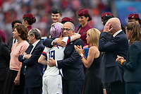 LYON, FRANCE - JULY 07: Megan Rapinoe and Carlos Cordeiro during a game between Netherlands and USWNT at Stade de Lyon on July 07, 2019 in Lyon, France.