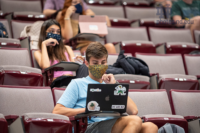 August 10, 2020; Students wear masks in class in DeBartolo on the morning of the first day of fall semester 2020. (Photo by Matt Cashore/University of Notre Dame)