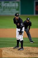 Batavia Muckdogs pitcher Geremy Galindez (34) during a NY-Penn League game against the Auburn Doubledays on August 31, 2019 at Dwyer Stadium in Batavia, New York.  Auburn defeated Batavia 12-5.  (Mike Janes/Four Seam Images)