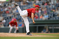 Starting pitcher Alex Scherff (18) of the Greenville Drive picked up his first professional win in a game against the Asheville Tourists on Friday, June 1, 2018, at Fluor Field at the West End in Greenville, South Carolina. Scherff pitched six scoreless innings. (Tom Priddy/Four Seam Images)