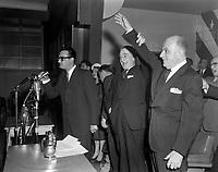 Assemblee de L'Union Nationale a Chicoutimi - Antonio Barrette et Antonio Talbot<br /> Date : 9 juin 1960<br /> <br /> Photographe : Photo Moderne - Agence Quebec Presse