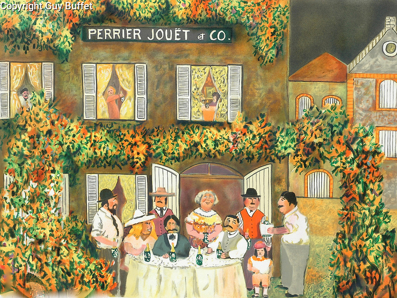 """""""Maison Perrier Jouet""""<br /> Limited Edition Lithograph 18x24<br /> Discounted due to light foxing on white borders, image are is clean!<br /> SN $600<br /> EA $750<br /> HC $750<br /> EA or HC With Original Watercolor Remarque $1,150<br /> <br /> Guy worked with Champagne Perrier Jouet in Epernay, France for 25 years and is welcome to the maison to relax with coffee in the garden, eat delicacies in the dining room or take a tour of the cellars, which seem to go on for miles!"""