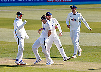 Yorkshire's Jordan Thompson (2d L) celebrates after taking the wicket of Kent's Ollie Robinson during Kent CCC vs Yorkshire CCC, LV Insurance County Championship Group 3 Cricket at The Spitfire Ground on 16th April 2021