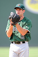 Starting pitcher Christian Jones (23) of the Augusta GreenJackets in a game against the Greenville Drive on Sunday, July 13, 2014, at Fluor Field at the West End in Greenville, South Carolina. Greenville won, 8-5. (Tom Priddy/Four Seam Images)