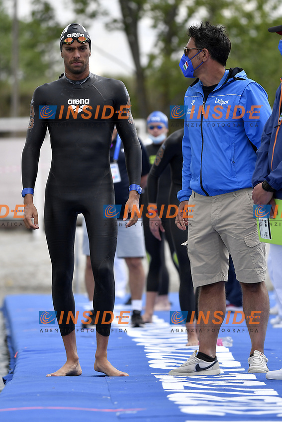 PALTRINIERI Gregorio, RIBAUDO Stefano ITA <br /> Team Event 5 km<br /> Open Water<br /> Budapest  - Hungary  15/5/2021<br /> Lupa Lake<br /> XXXV LEN European Aquatic Championships<br /> Photo Andrea Staccioli / Deepbluemedia / Insidefoto