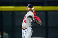 Peoria Chiefs outfielder Jhon Torres (22) throwing during a game against the Beloit Snappers on August 18, 2021 at ABC Supply Stadium in Beloit, Wisconsin.  (Mike Janes/Four Seam Images)