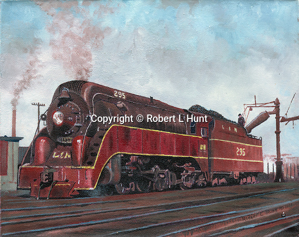 """Big Red steam locomotive of the Louisville and Nashville Railroad taking on water in the yard. Oil on canvas, 8"""" x 10""""."""