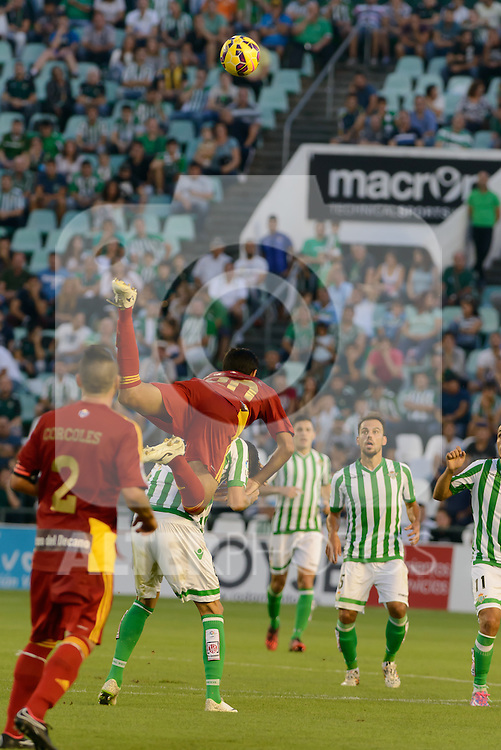 Menesse falls to the ground after a big jump to clinch an air balloon match between Real Betis and Recreativo de Huelva day 10 of the spanish Adelante League 2014-2015 014-2015 played at the Benito Villamarin stadium of Seville. (PHOTO: CARLOS BOUZA / BOUZA PRESS / ALTER PHOTOS)
