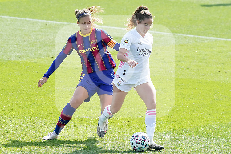 First official match and first classic in the history of women's Real Madrid.<br /> Real Madrid's Teresa Abelleira (r) and FC Barcelona's Alexia Putellas during Spanish Female League match. October 4,2020. (ALTERPHOTOS/Acero)
