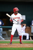 Harrisburg Senators center fielder Rafael Bautista (12) at bat during a game against the New Hampshire Fisher Cats on June 2, 2016 at FNB Field in Harrisburg, Pennsylvania.  New Hampshire defeated Harrisburg 2-1.  (Mike Janes/Four Seam Images)