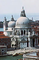 Venice:  Santa Maria Della Salute (St. Mary of Salvation), 17th century, by Longhena.  After an plague epidemic.  Photo '83.