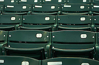 Mobile BayBears empty seats before a game against the Mississippi Braves on April 28, 2015 at Hank Aaron Stadium in Mobile, Alabama.  The game was suspended after the top of the second inning with Mobile leading 3-0, the BayBears went on to defeat the Braves 6-1 the following day.  (Mike Janes/Four Seam Images)
