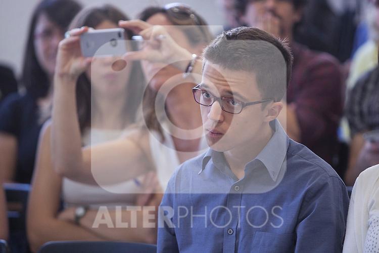 "`Podemos´ political party member Inigo Errejon during the presentation of ""Ruta del Cambio"" - Pablo Iglesias Tour in Madrid, Spain. June 18, 2015. (ALTERPHOTOS/Victor Blanco)"