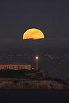 January full moon rose over Alcatraz Island, San Francisco, CA