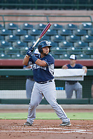 AZL Padres 2 catcher Janigson Villalobos (13) at bat against the AZL Giants on July 13, 2017 at Scottsdale Stadium in Scottsdale, Arizona. AZL Giants defeated the AZL Padres 2 11-3. (Zachary Lucy/Four Seam Images)