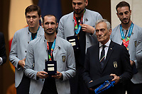 Giorgio Chiellini and the president of FIGC Gabriele Gravina and Italy trainer Roberto Mancini during the official visit of the football Italy National team, after winning the UEFA Euro 2020 Championship.<br /> Rome (Italy), July 12th 2021<br /> Photo Pool Augusto Casasoli Insidefoto