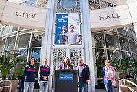 ORLANDO, FL - FEBRUARY 28: Tiffany Roberts Sahaydak speaks during a SheBelieves press conference with Ali Krieger #11 and Ashlyn Harris #18 of the United States at City Hall on February 28, 2020 in Orlando, Florida.