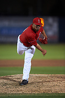 Inland Empire 66ers relief pitcher Carlos Salazar (35) follows through on his delivery during a California League game against the Lancaster JetHawks at San Manuel Stadium on May 18, 2018 in San Bernardino, California. Lancaster defeated Inland Empire 5-3. (Zachary Lucy/Four Seam Images)