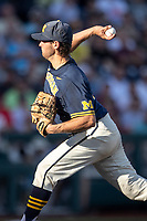 Michigan Wolverines pitcher Karl Kauffmann (37) delivers a pitch to the plate against the Vanderbilt Commodores during Game 3 of the NCAA College World Series Finals on June 26, 2019 at TD Ameritrade Park in Omaha, Nebraska. Vanderbilt defeated Michigan 8-2 to win the National Championship. (Andrew Woolley/Four Seam Images)