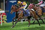 WAN CHAI,HONG KONG-DECEMBER 07: Big Bang Bong,ridden by Keita Tosaki,wins the 4th leg of LONGINES International Jockeys' Championship at Happy Valley Racecourse on December 7,2016 in Wan Chai,Hong Kong (Photo by Kaz Ishida/Eclipse Sportswire/Getty Images)